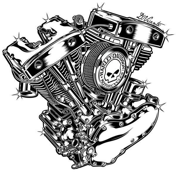 'Harley Davidson Engine 1966' by DAVID VICENTE - Illustration from France