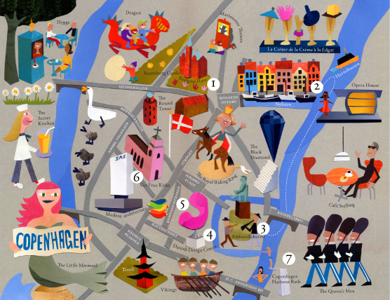 Map of Copenhagen by Jens Magnusson Illustration from Sweden – Copenhagen Tourist Attractions Map