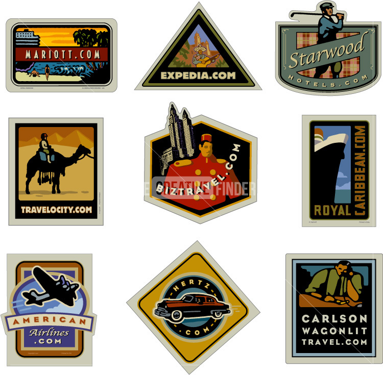 vintage luggage stickers by neal aspinall illustration from